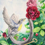 bird and roses